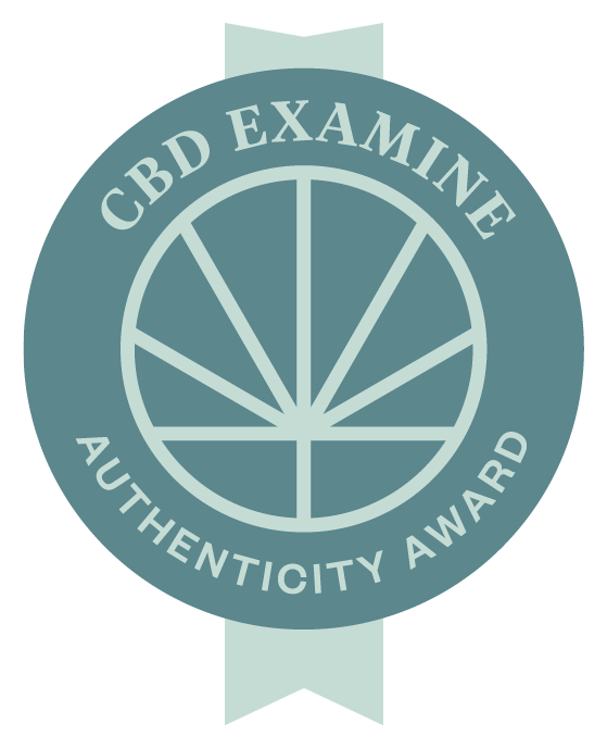 Image of an award ribbon for products that have been awarded the CBD Examine Authenticity Award
