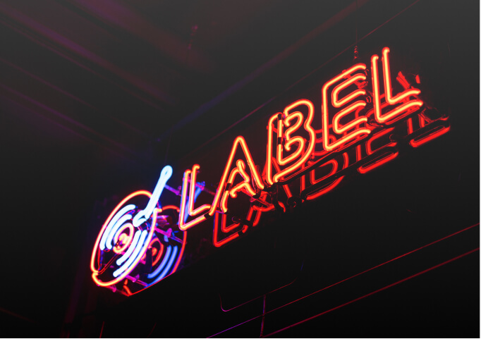neon sign of a record label