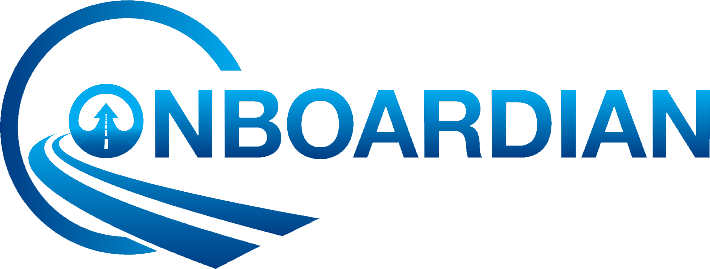 It is our Onboardian logo with our name and a road going into the logo and ending as its going behind it.