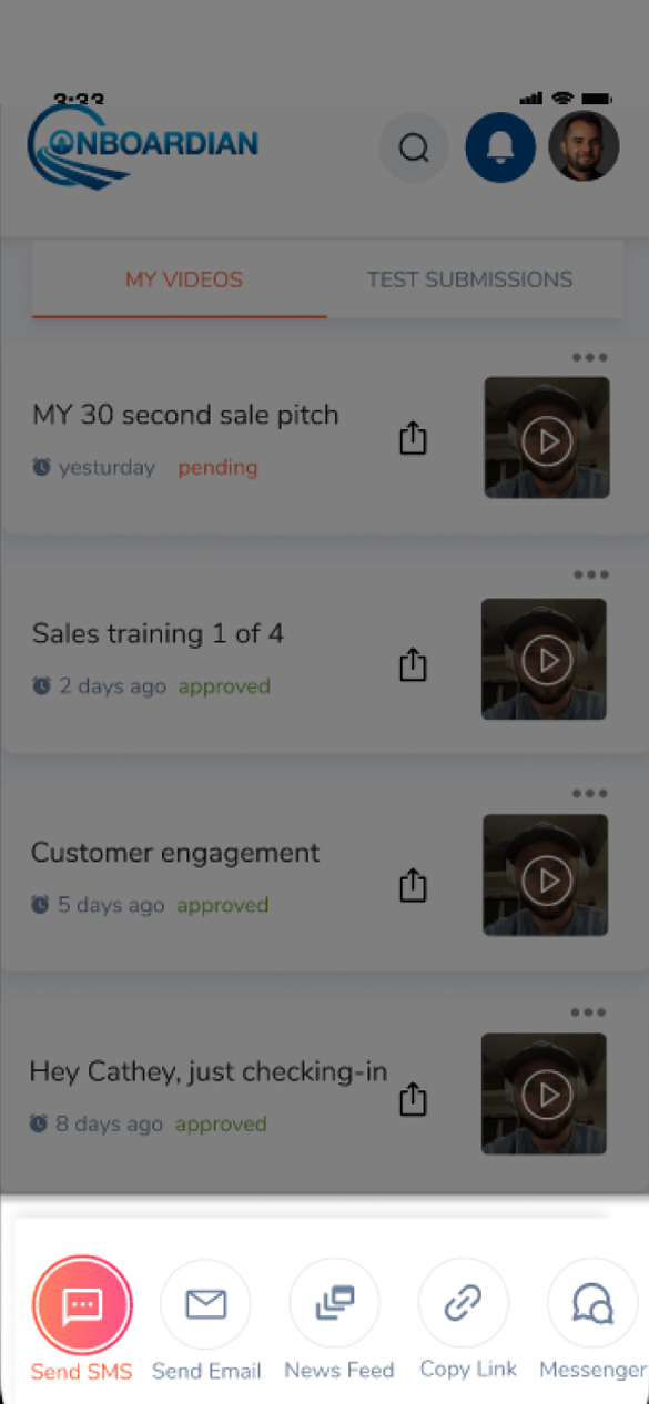 "Screenshot of onboardians video tool screen salesmen can use to better connect with todays customer on onboardians mobile platform application. It sits to the right of the header ""Better connect with today's customer"" and has a description that reads Onboardian teaches sales pros relational selling and digital communication strategies that lead to a better buying experience and lasting customer relationships. Connect before they ever get to your lot!"