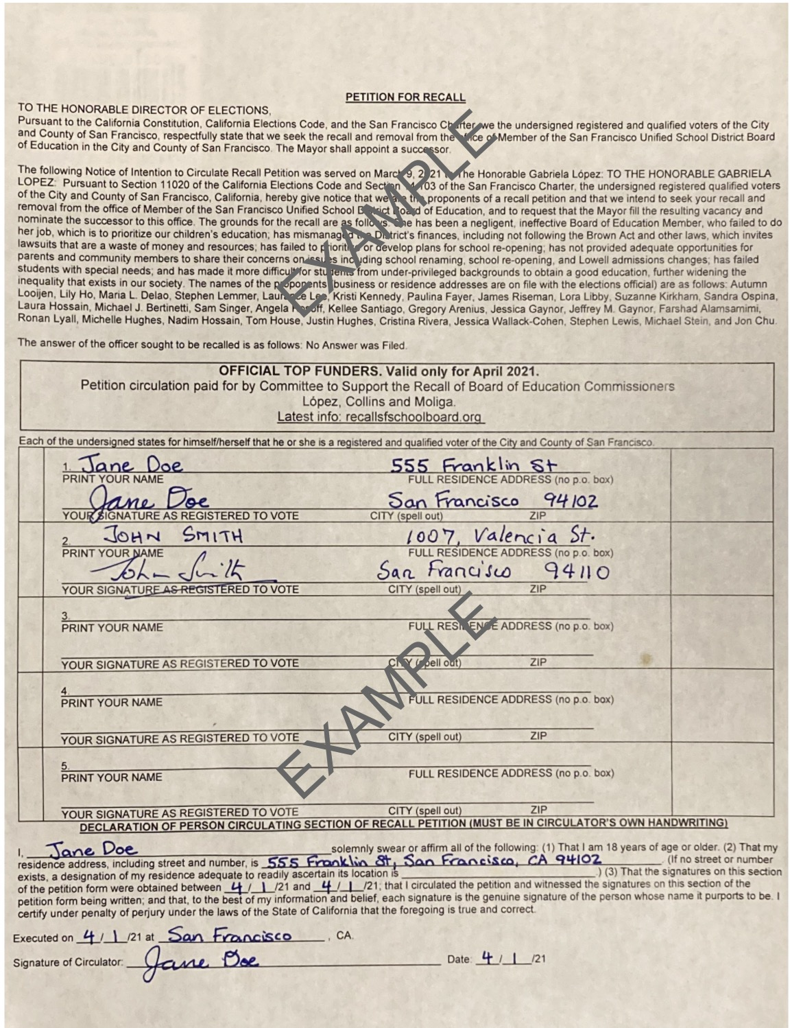 Example signed petition