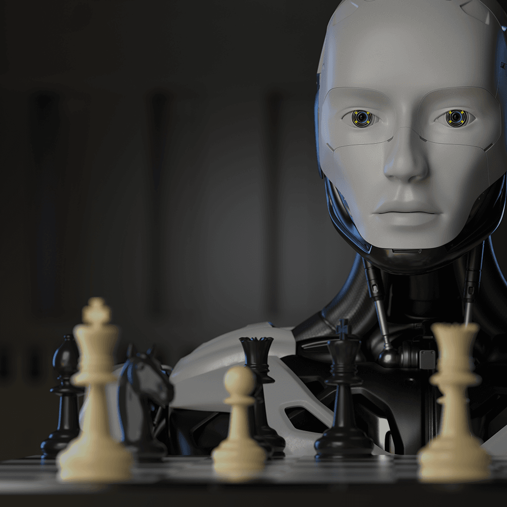 Picture displaying a modern, humanlike robot staring into the camera, with a chess board in front of it.