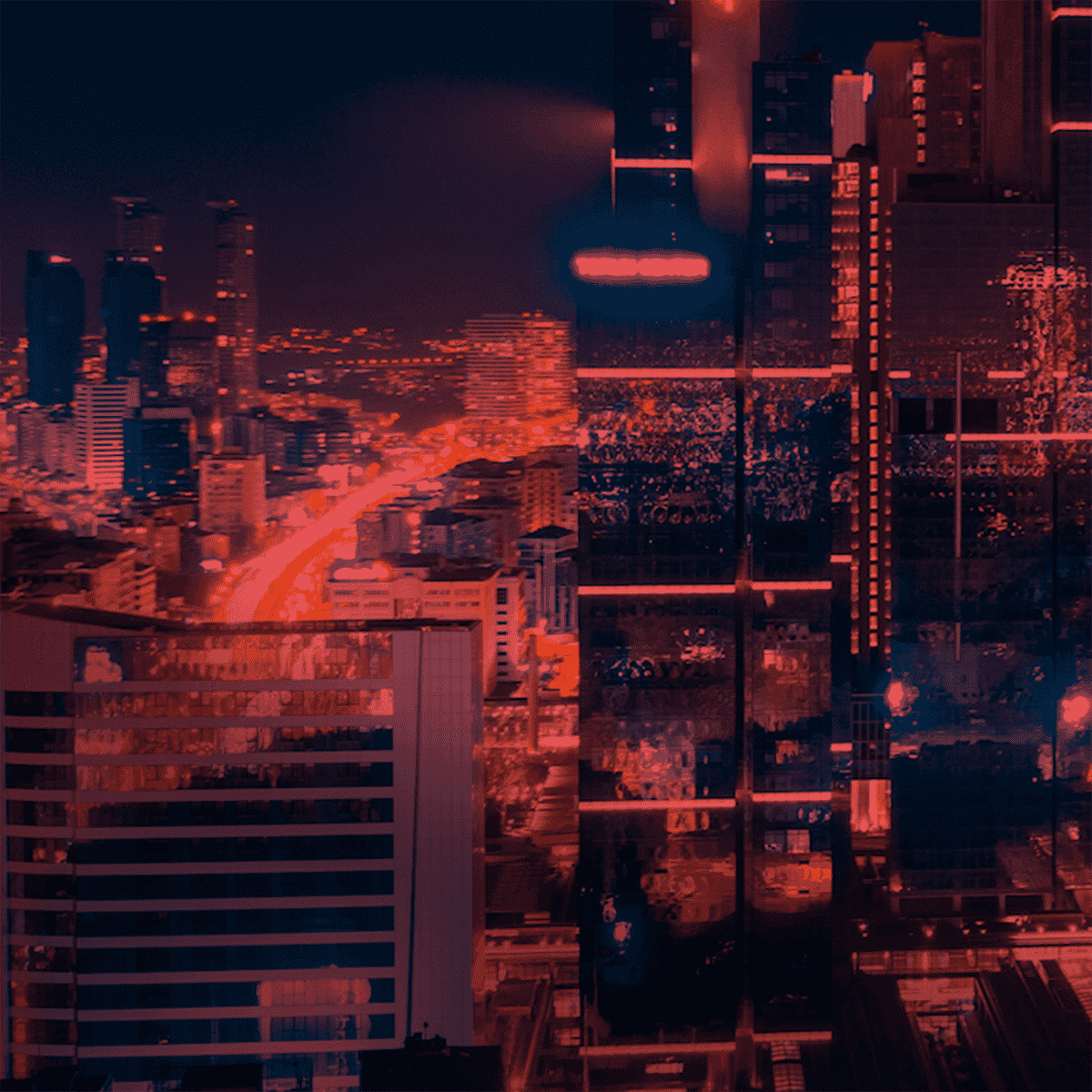 Picture showing skyscrapers in New York with red highlights. Taken from the Megadeals Factory Explainer video.