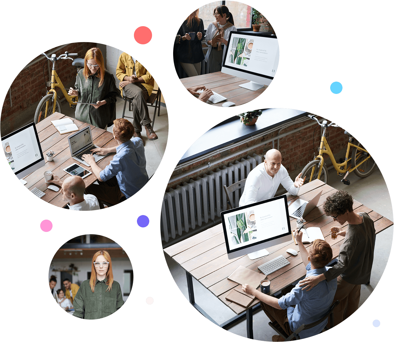 Four images of young people working at a large wooden desk  in a modern office.