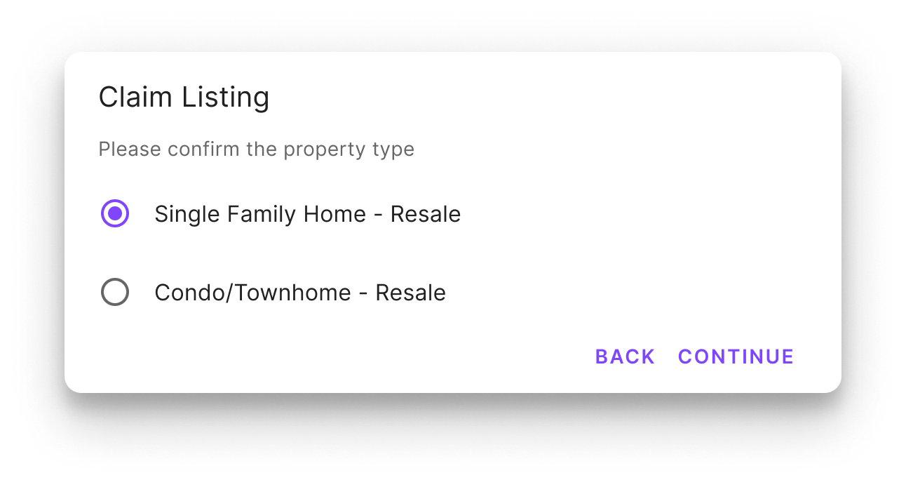 Confirm property form
