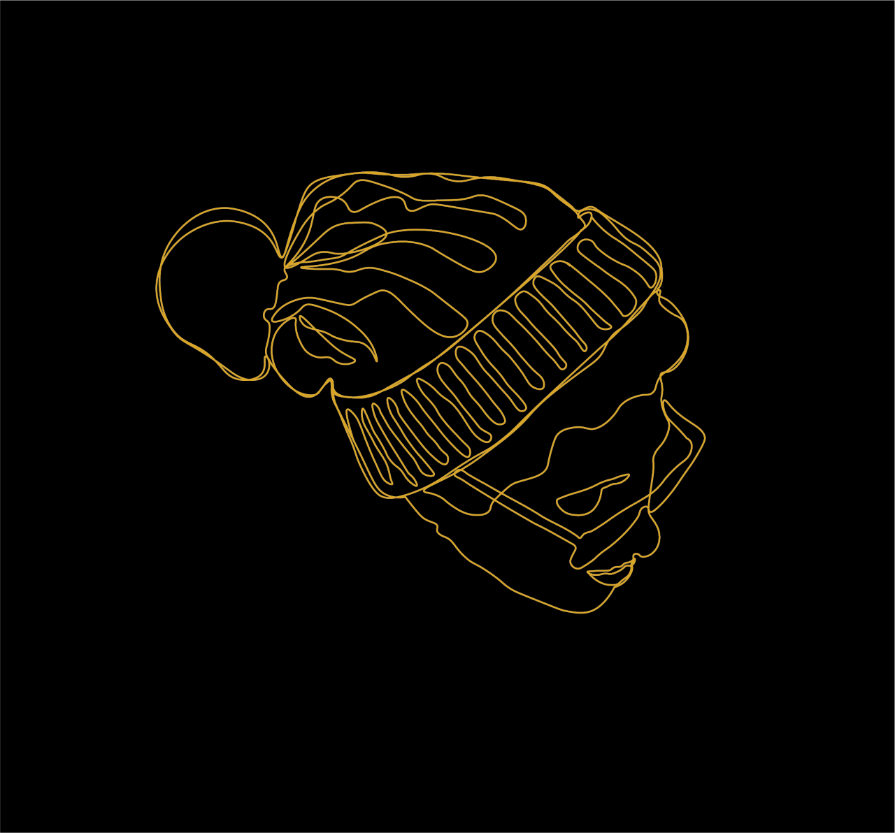 Black background with a gold line drawing of a female with glasses wearing a beanie with Pom-Pom