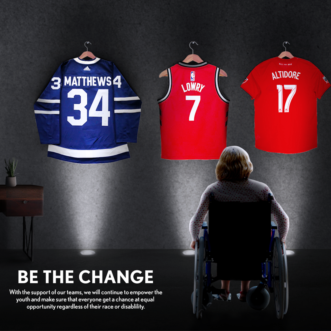"""An advertisement with an image of a young man in a wheelchair seen from behind looking up at three sports jerseys hanging on hooks.Hockey, basketball and baseball. The text reads """"Be the Change"""" """"With the support of our teams, we will continue to empower the youth."""""""