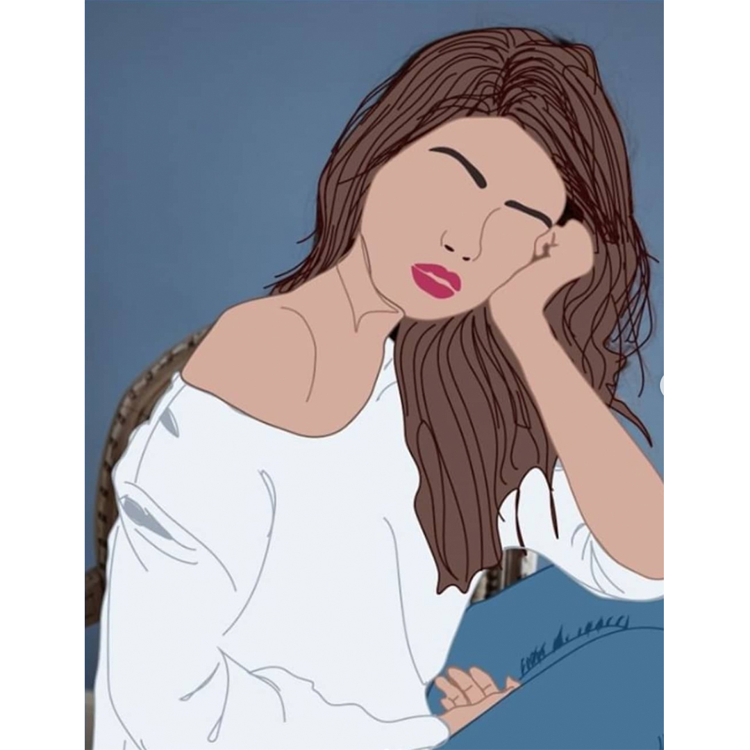 An illustration of a young woman with long brown hair wearing a white shirt an jeans. Her head rests on her left hand and her right side is facing the foreground.