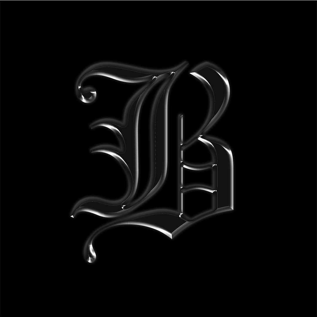 "A logo of a metalic blackletter font capital ""B."""