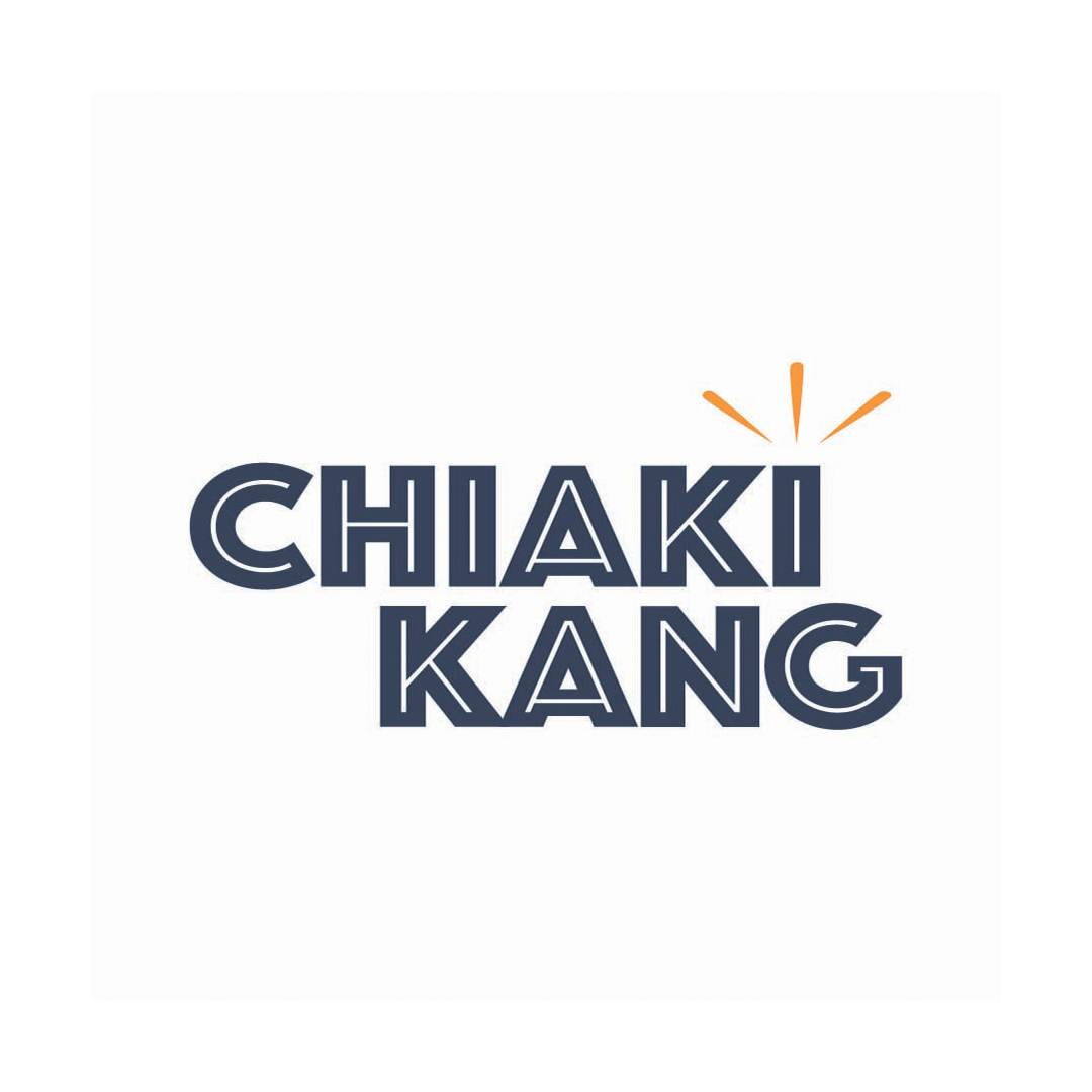 """A logo that reads """"Chiaki Kang"""" in blue uppercase cutout letters. Over the uppercase I is three yellow strokes that represent a crown."""