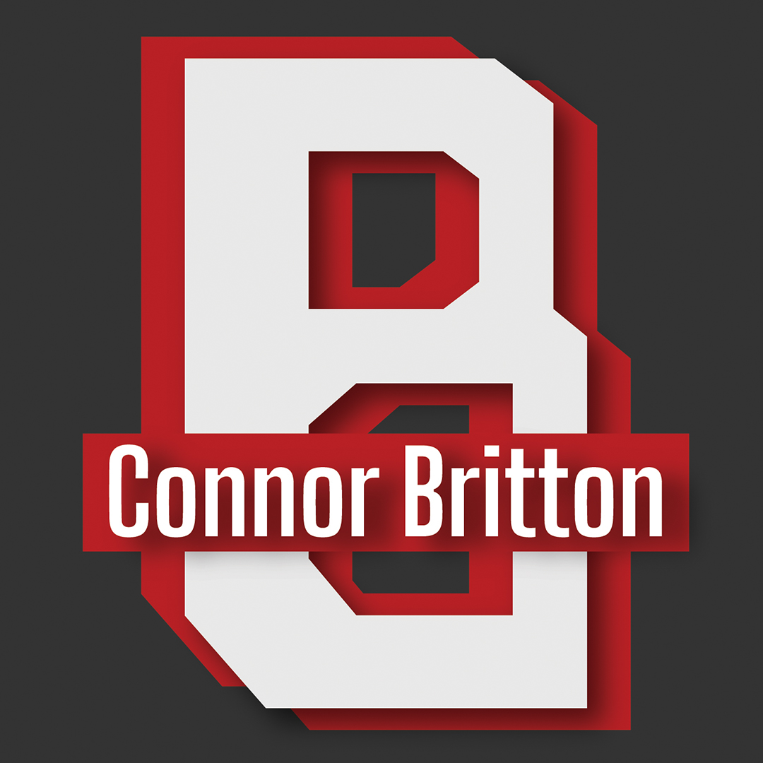 """A red and white logo consisting of a white geometric B on a red shadow B. The name """"Connor Britton"""" reads across the middle in white letters."""