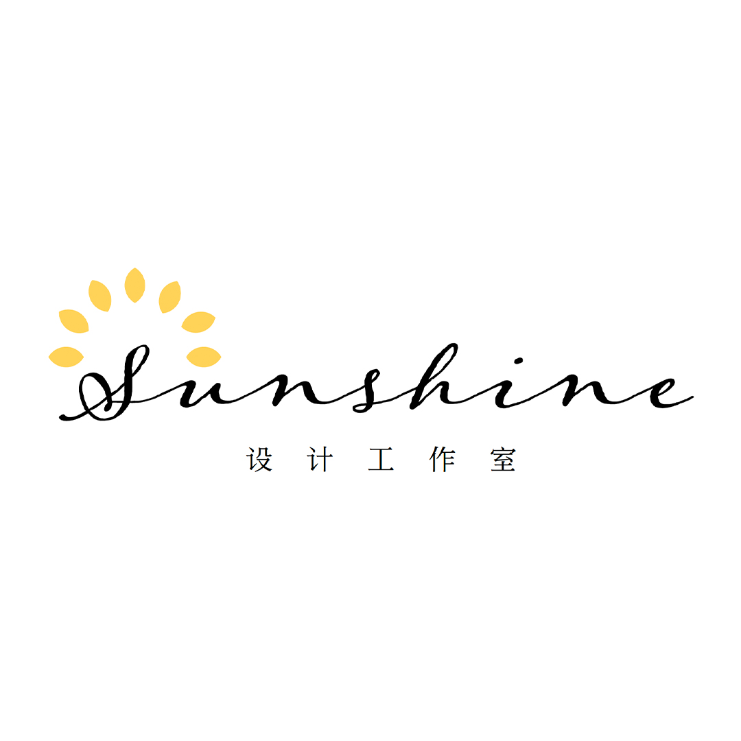 """A logo of yellow flowers on a white background. The words read """"Sunshine."""" Also there are mandarin characters below."""