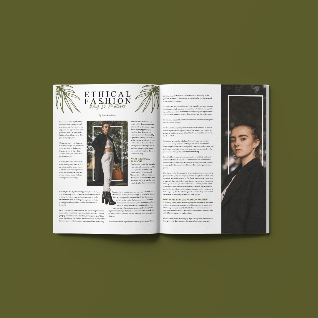 """A photo of a two page magazine spread on a green background.The title is """"Ethical Fashion"""" at top left of the spresd. A young woman in a black coat and white pants stairs out of the spread. She also appears on the right page in close up from the waist up."""