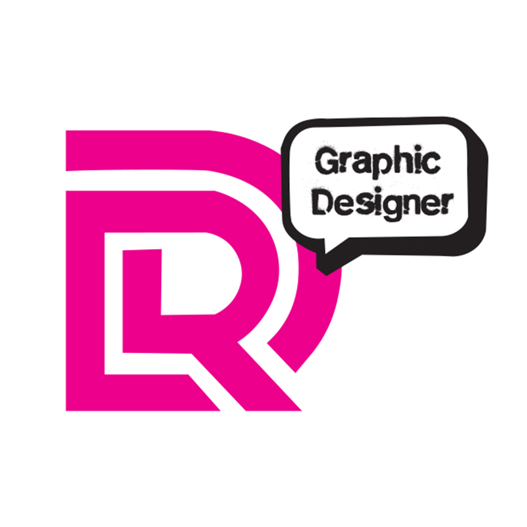 A fuschia pink D and R logo. The R is smaller and sits inside the negative space of the D. A bubble quote in black in the upper right corner reads Graphic Designer.