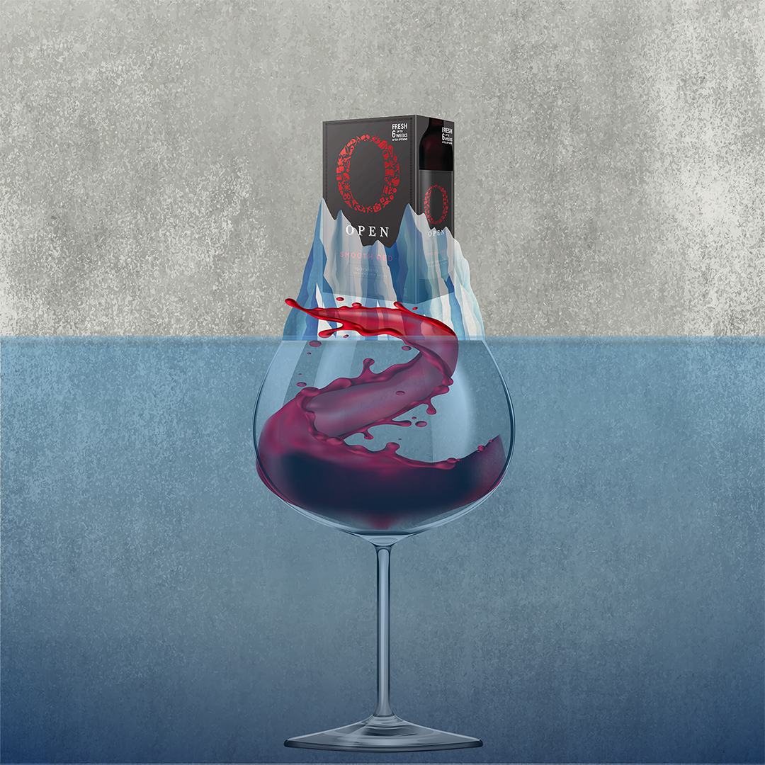 """A vector illustration of a wine glass on a blue background. The glass is filled with red wine and in the glass is the black wine box. The brand is """"O"""" """"Open""""."""
