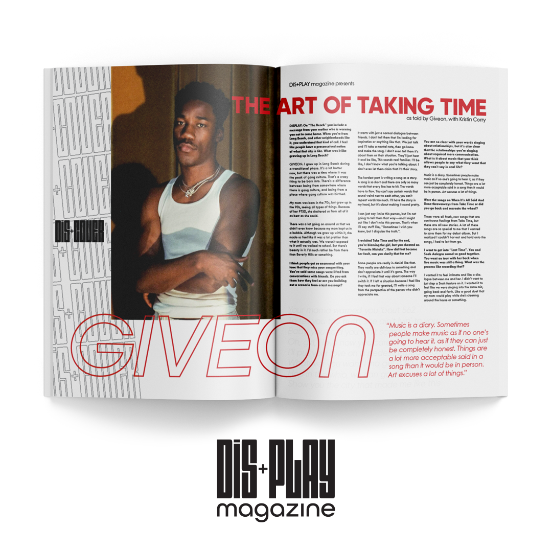 """A magazine spread with a full page picture of an African American man on the left page. He is wearing a white shirt and his arms are crossed. The article is titled """"The art of making time."""" The article runs in three colunms with the artist's name """"Giveon"""" in large red letters across the spread,"""