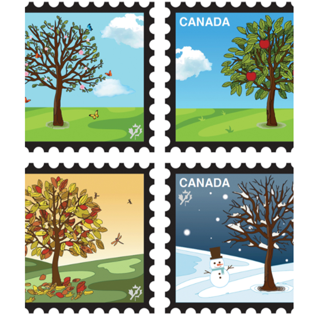 A vector of four Canada stamps. Each stamp is a season. Upper left is spring. Upper right is summer. Lower left and right is fall and winter.