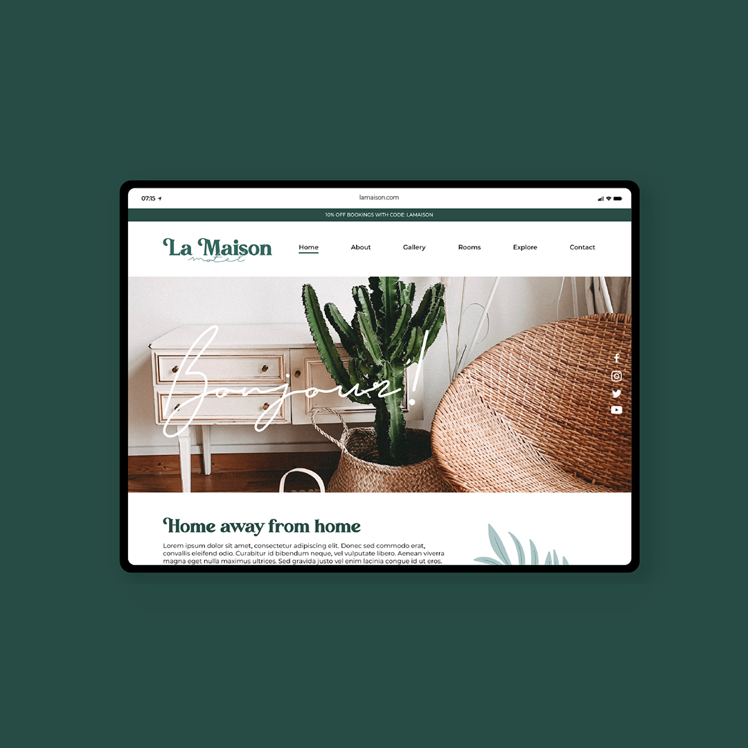 """A photo of a website home page on a green background. The name is La Masion and the menu at top reads """"home"""" """"about"""" """"gallery"""" """"rooms"""" """"explore"""" """"content"""" The type is all dark green and there an image underneath of a room showing a cactus, a wicker chair and a white dresser. Over the image is the text in script """"bonjour"""""""