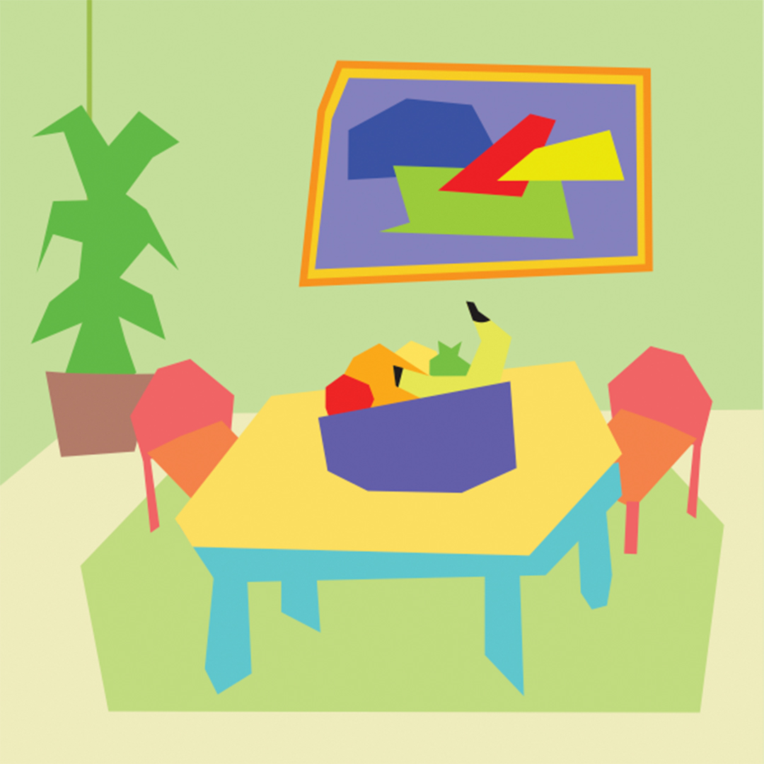 A colourful square line art illustration of a room with a table and two chairs, a painting on the wall and a plant in the corner. All vivid colours of green, red, purple and yellow.