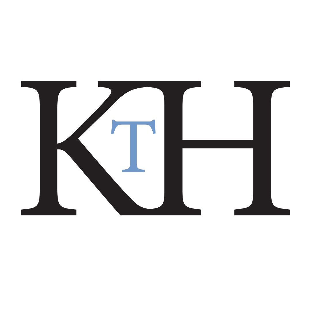 A loto of uppercase serif letters KTH on a white background. The T in the centre is smaller and blue and sits inside the space created by the K and H together.