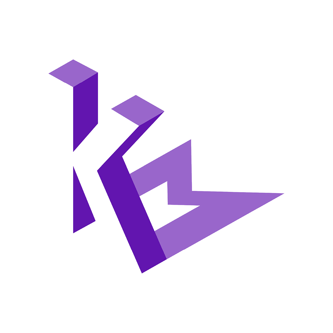 A logo in purple on a white background of the uppercase sans serif letter M. A lighter cast shadow of the M falls to the upper right corner of the square.