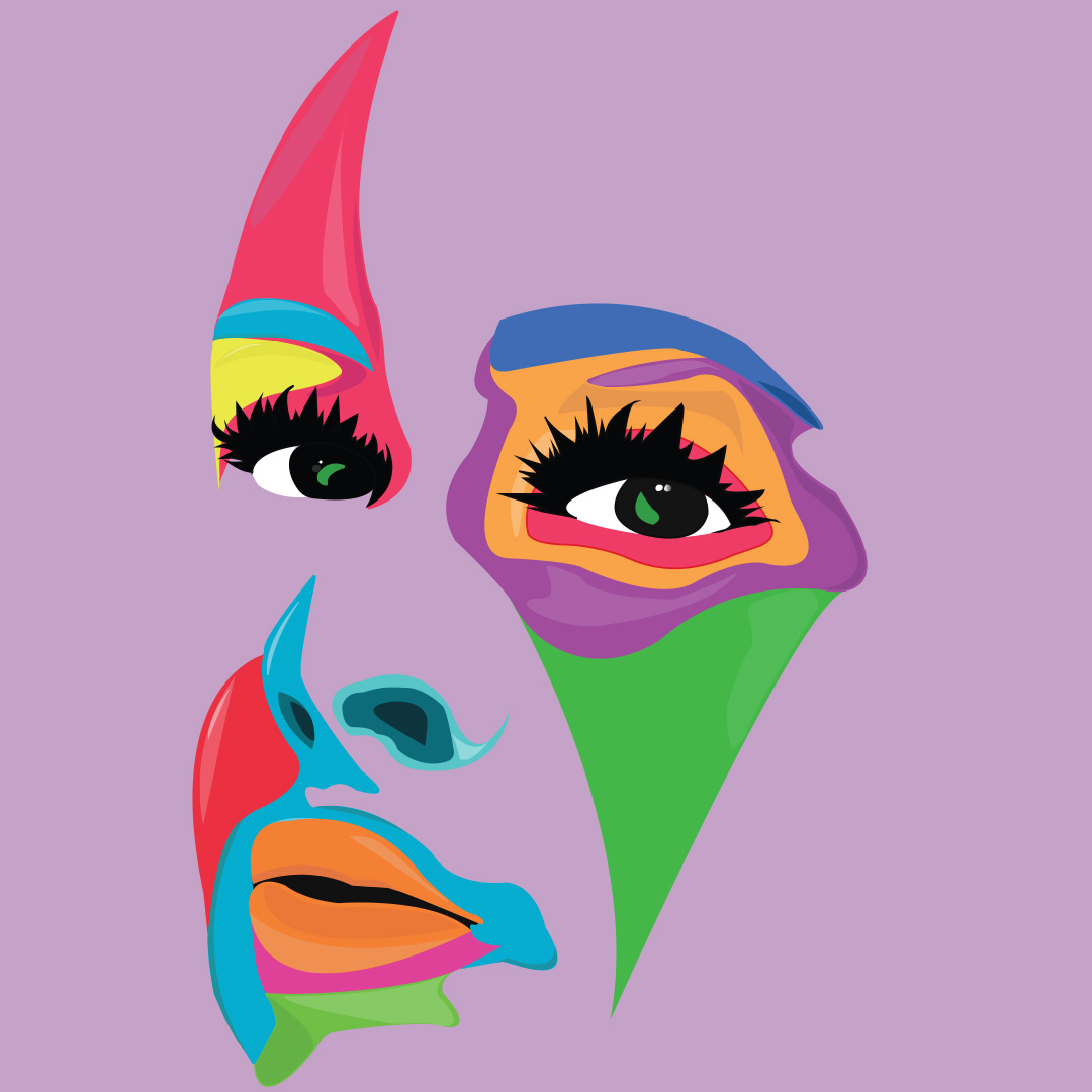 A digital illustration of a face with eyes, nose and mouth visible only painted in bright strokes of colour in green, purple, orange, blue, yellow on a light purple background.