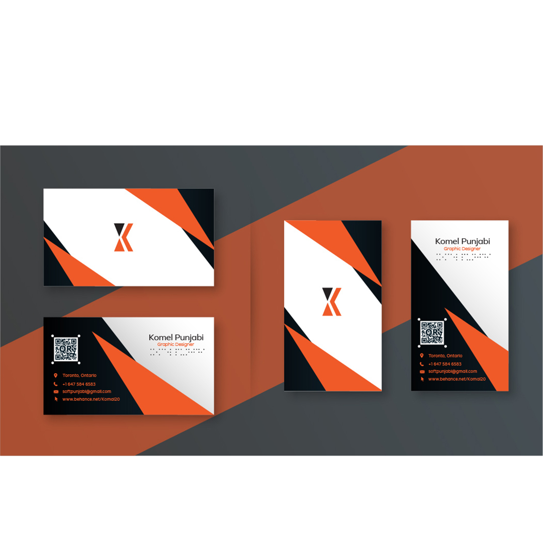 """Business card with a geometric pattern in orange and black on front. Back of card reads. """"Komel Punjabi"""""""