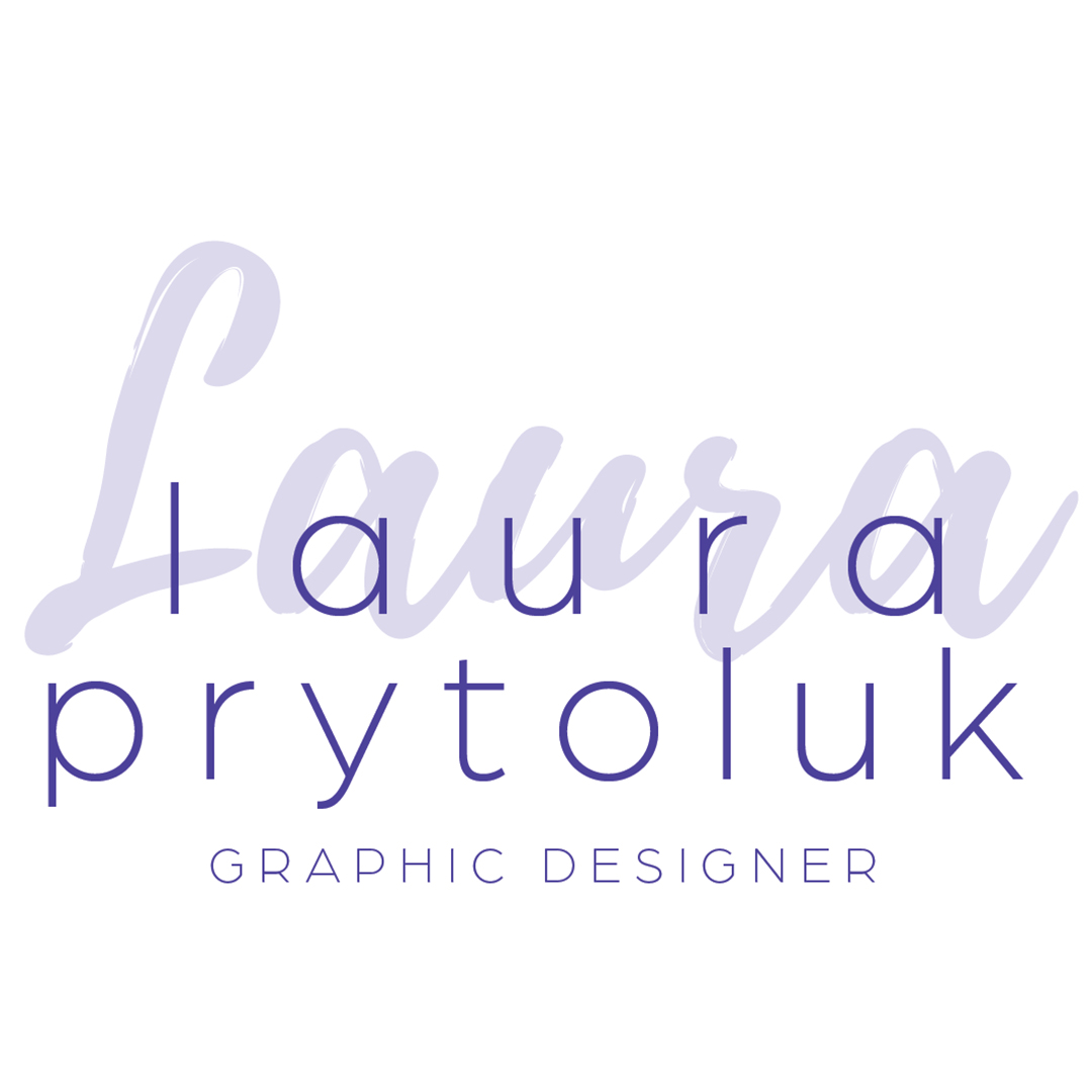 """A white square with the artists name in sans serif purple type. Loosely spaced. Underneath reads """"graphic designer"""" Behid the type in pale purple brush script reads """"Laura"""""""
