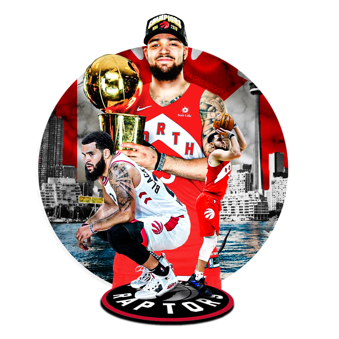 A collage image of three athletes of Afican American decent. One is holding a gold basketball trophy. Another is shooting into a hoop and another is squatting in a seated pposition. The background is also a collage of the Toronto waterfront.
