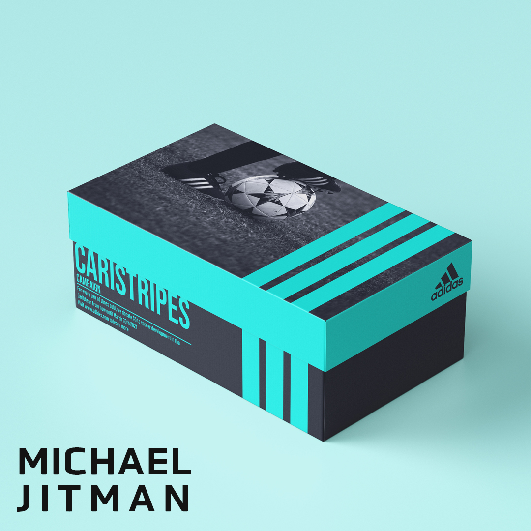 """A photo of a black and teal shoe box with a Nike logo on the side. The top of the box lid has three turquoise strips and a black and white photo of a soccer player kicking the ball from the knee down. The text on the box reads """"Care is Stripes Campaign"""""""