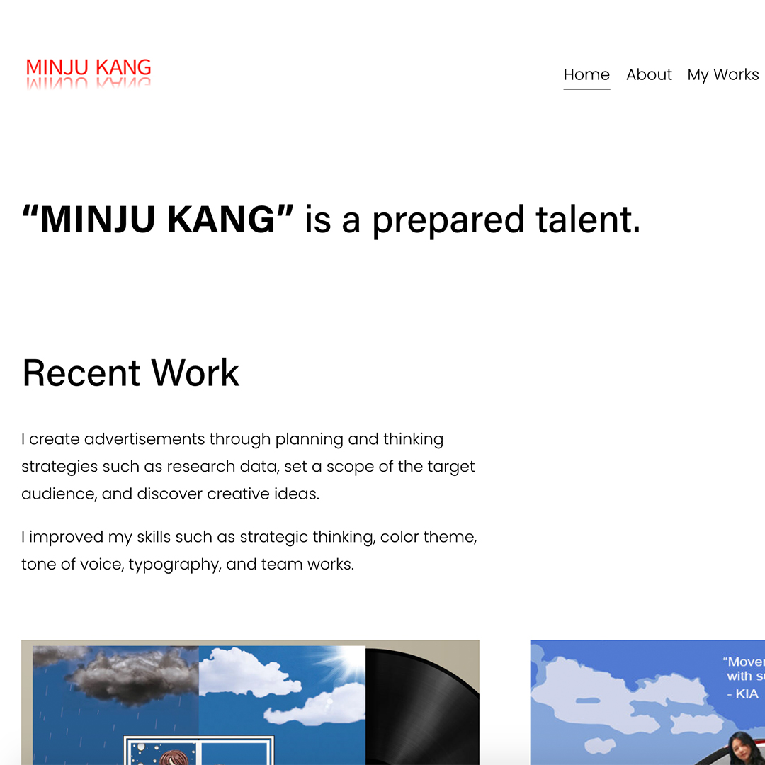 """A website home page with a menu across the top and two images cropped off the bottom showing album cover design with blue sky and white type. The web page says """"Minju Kang is a Prepared Talent."""""""
