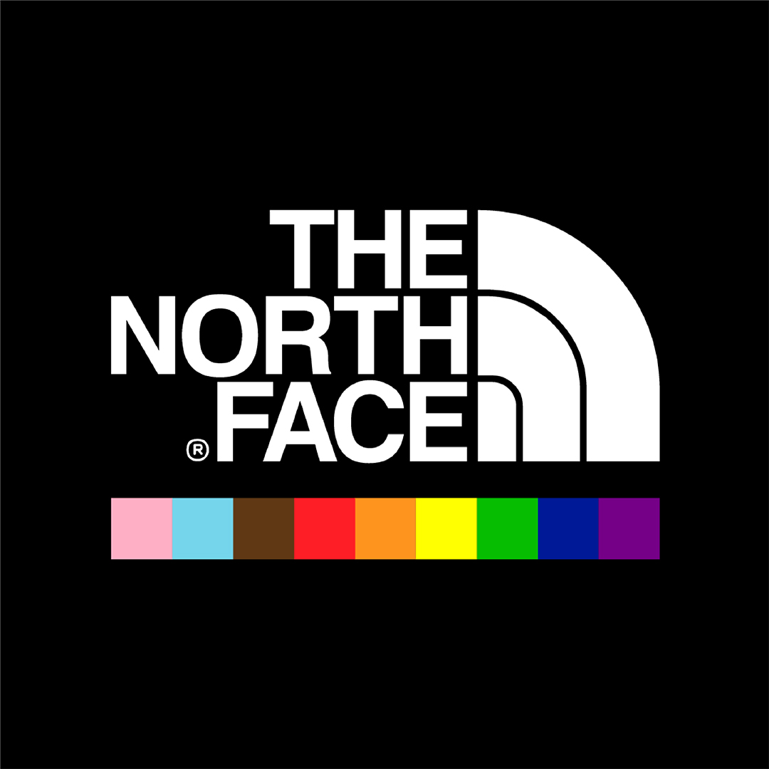 The North Face Logo is white mountain range on a black square. The LGBTQ colours have been added.