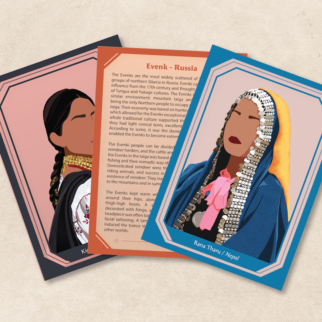 Three cards are placed on a plain background. Two are of illustrations of women in traditional constumes. Their faces are drawn with no eyes or nose. The middle card  shows the reverse and describes in detail a place in Russia called Evenk.