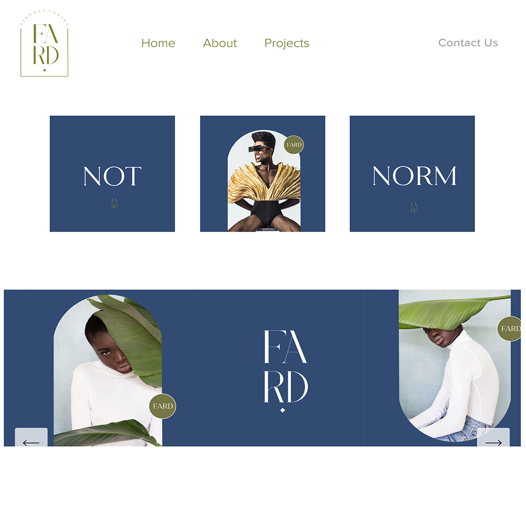 """The designer's website in blue and white. The logo in green """"FARD"""" in the upper left corner. Three blue squares in a row and one blue rectangle with images of the designer peering out from green leafs. Type on these squares are set in white and match the designer's white sweater in each photo."""