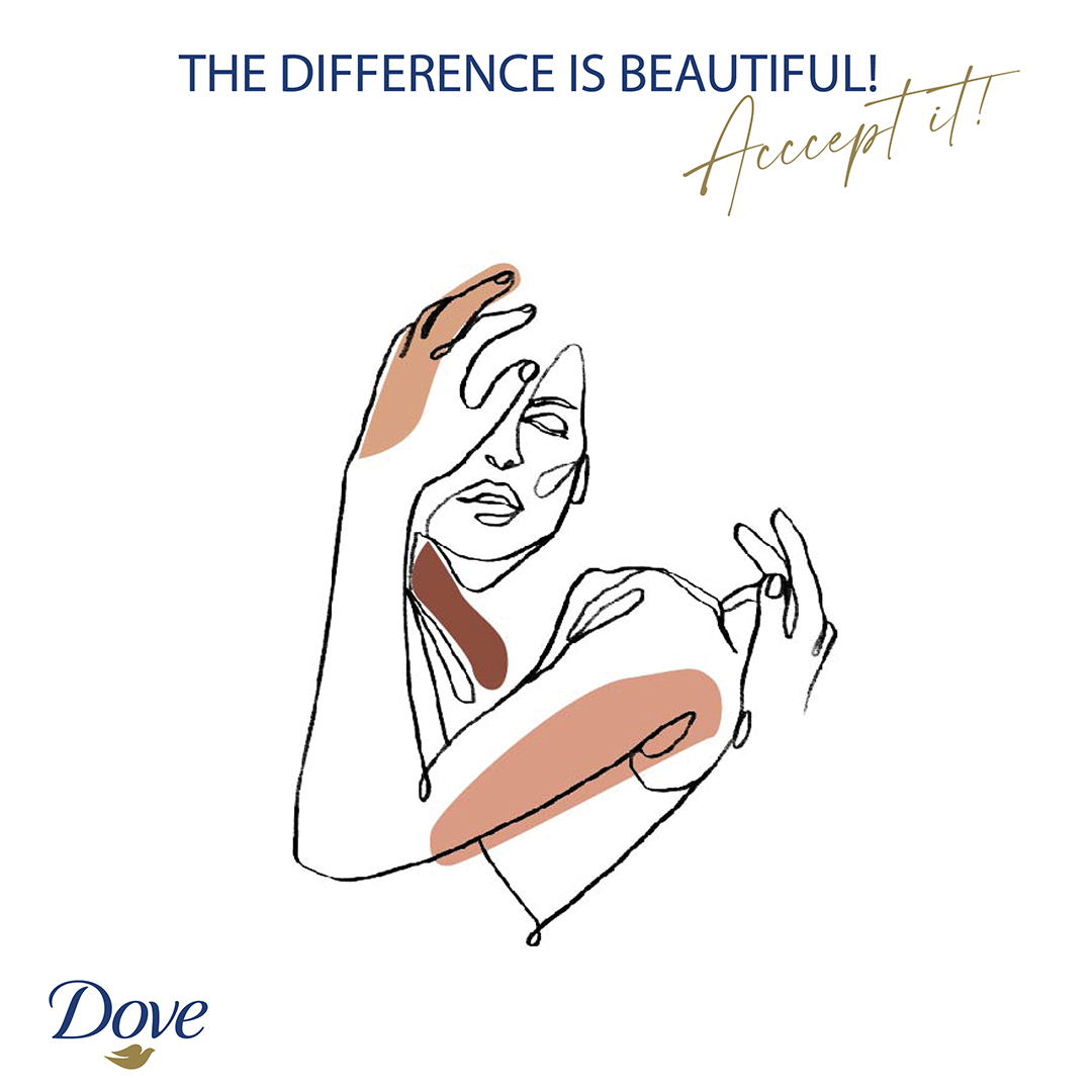 """A Dove ad of a black line illustraion of a woman with her hand in front of her face. Some dark skin tones are brushed over her arm and shouler. Otherwise whe is all in outline. The text reads """"The difference is beautiful. Accept it!"""""""