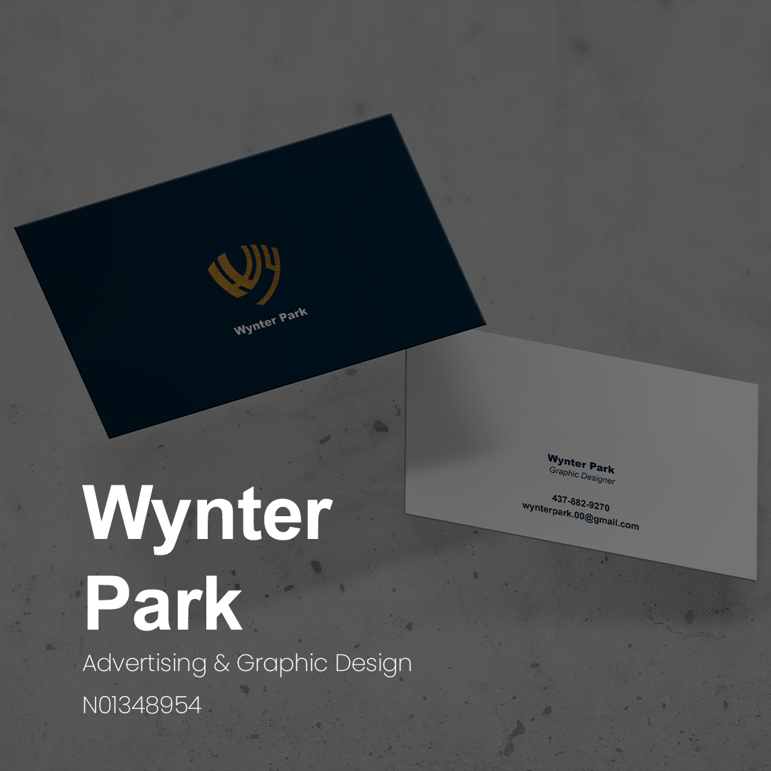 """A black business card with a gold logo of a stylized W and P looking like wings. The other side of the card is shown grey with very small type """"Wynter Park"""" """"Graphic Designer."""""""