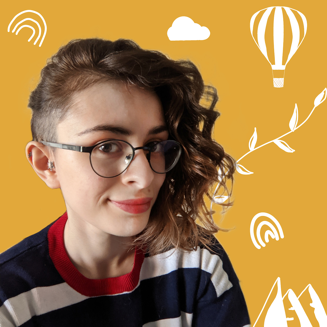 Female identifying person with glasses against a yellow background, surrounded by white doodles.