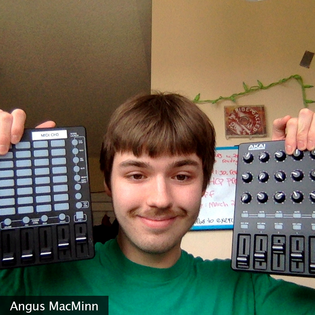 Picture of Angus MacMinn, holding up 2 MIDI controllers next to his head
