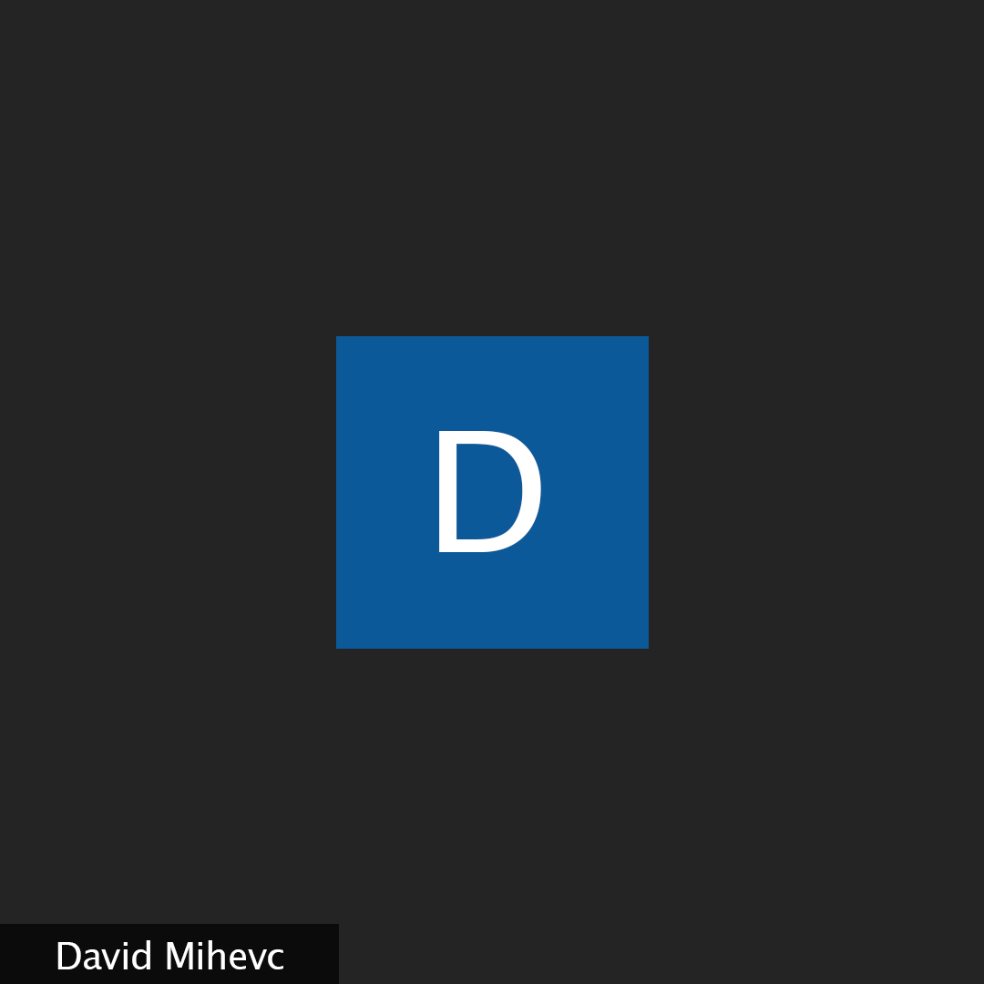 """A black background with the white letter """"D"""" in the middle of a blue Zoom square."""