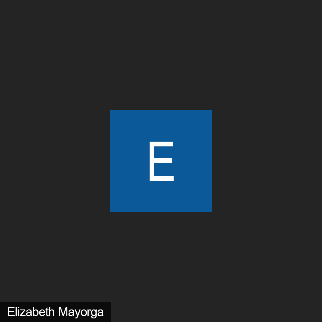 """A black background with the letter """"E"""" in the middle of a blue square."""