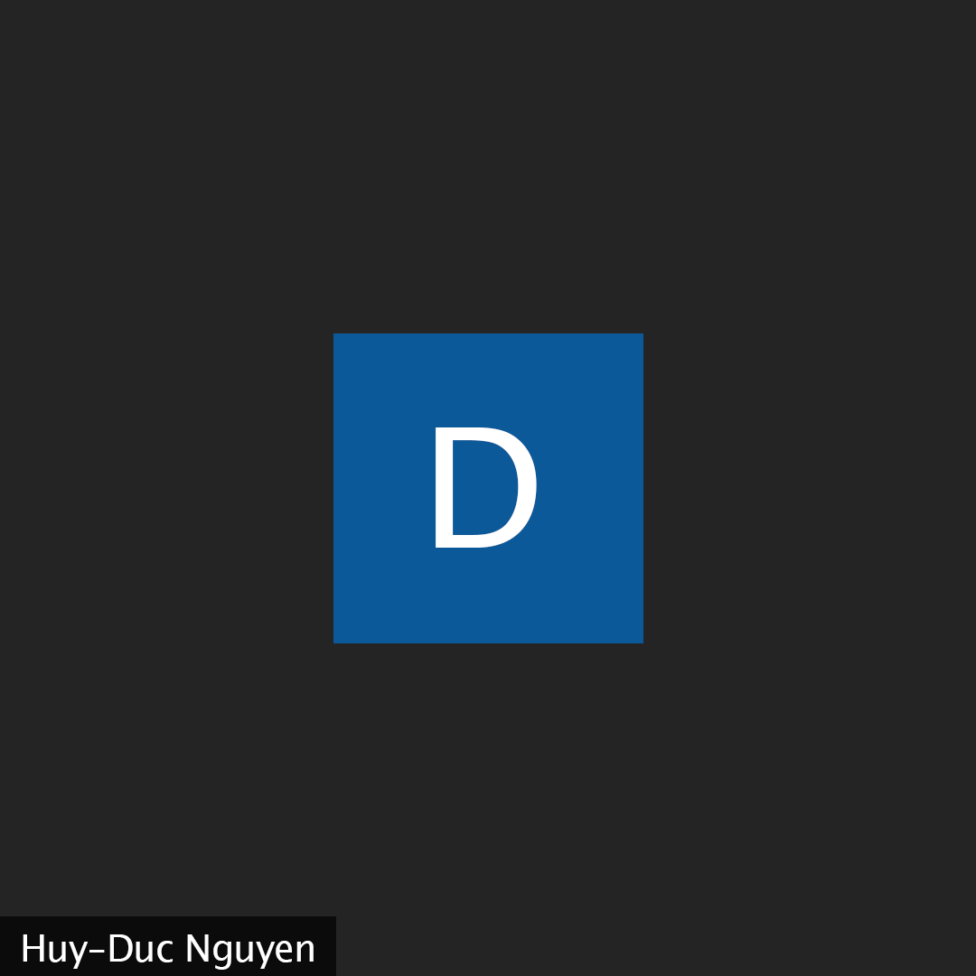 """A black background with the letter """"D"""" in a blue square."""