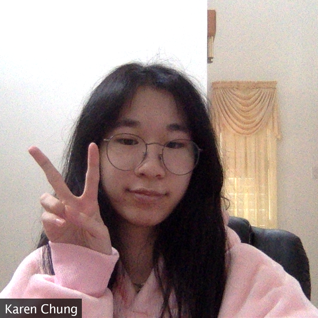 Picture of creator in her pink hoodie throwing up a peace sign at the camera.