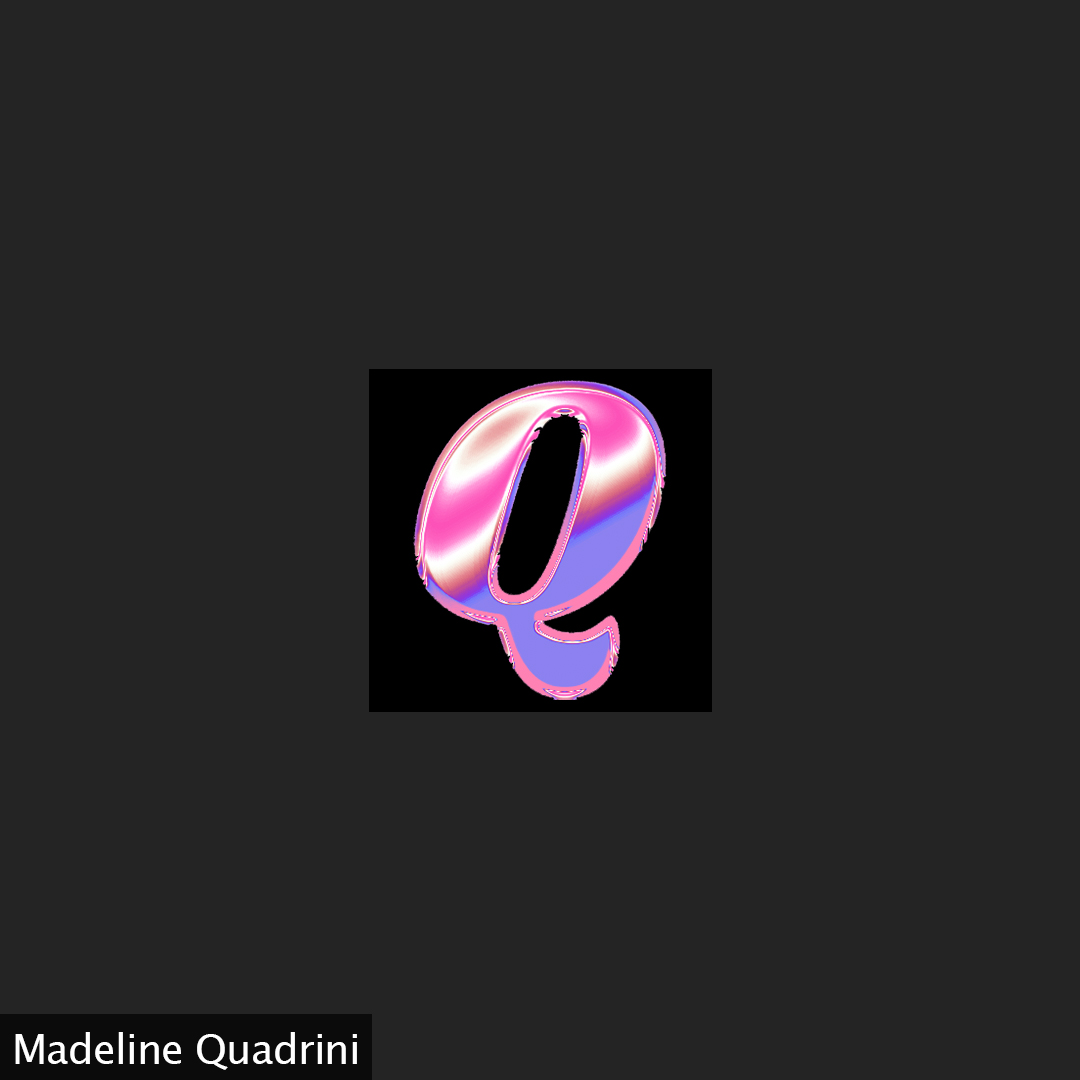 A pink chrome letter Q on a black background.