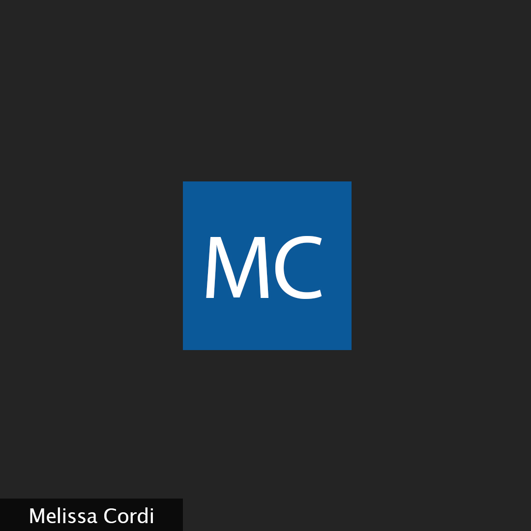 """A black backround with the initials """"MC"""" in a blue square and the name Melissa Cordi in the corner"""