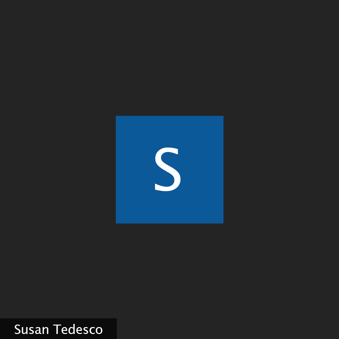 A black background with a white letter s in a blue square