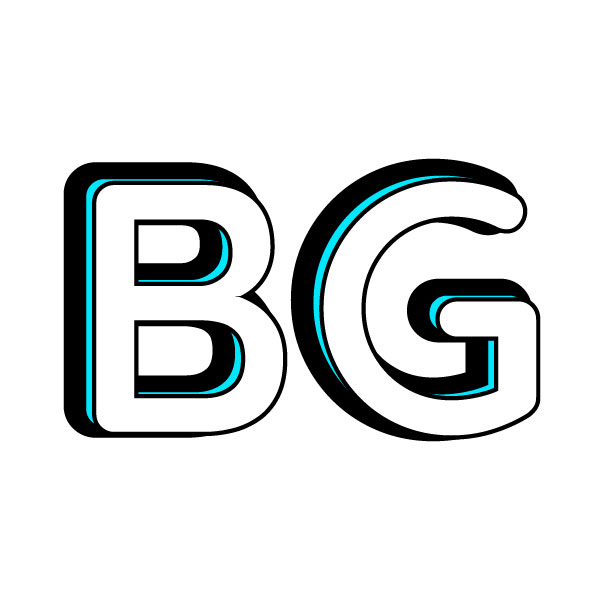 Bijaya Gautam logo. White B and G letters with an offset blue and black outline.