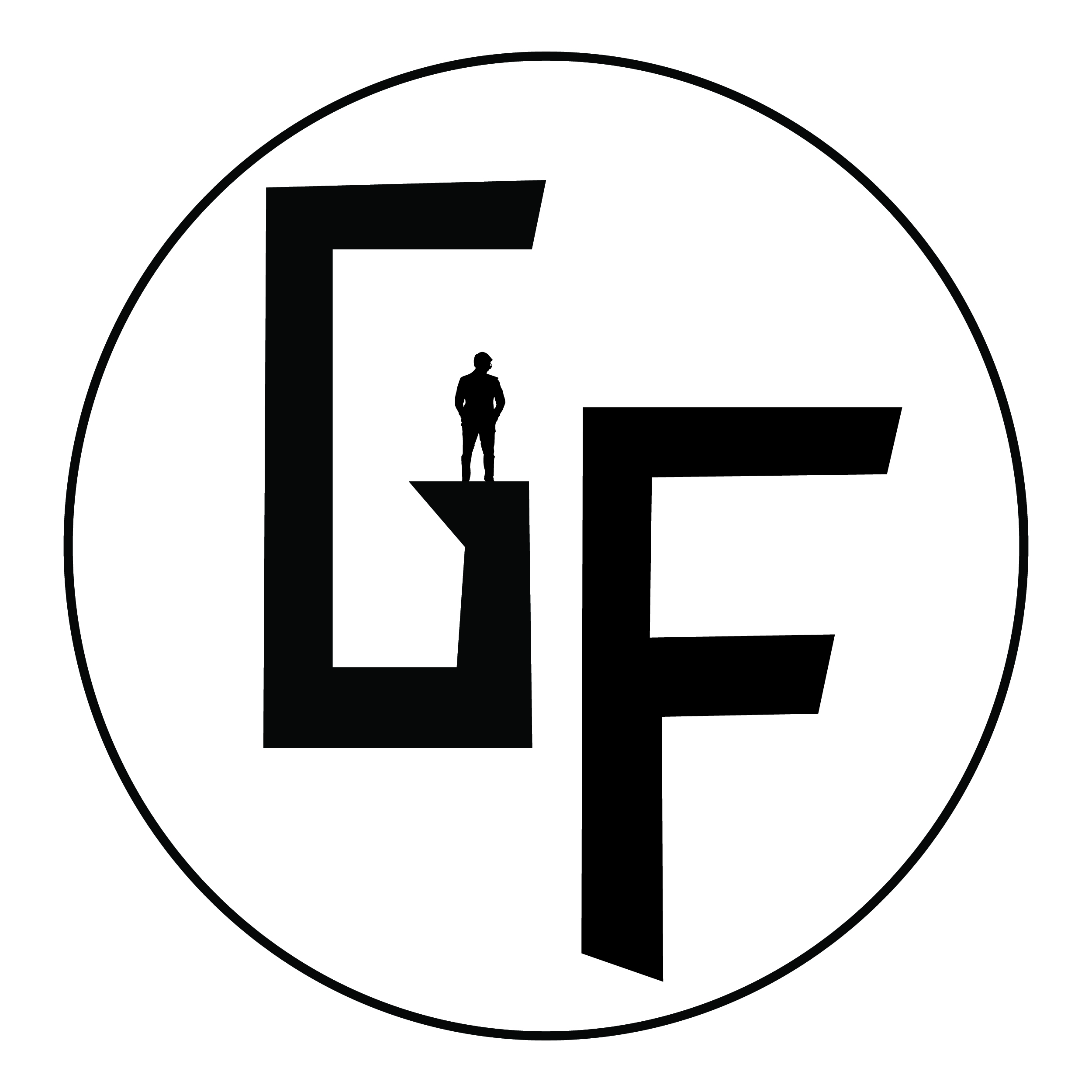 Giovanni Fortini logo. Black G and F letters in a circle with a human silhouette.