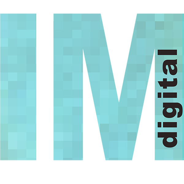 Inna Manova logo. Light blue I and M letters with the word Digital inside the M.