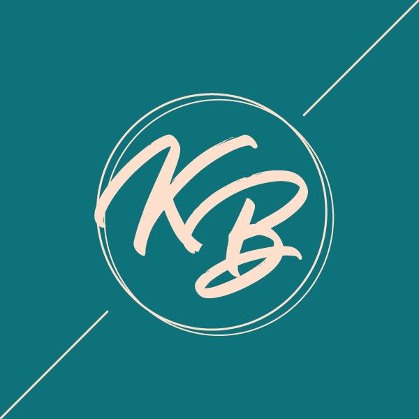 Karen Bulhosen logo. Handwritten K and B in a circle on a teal background.