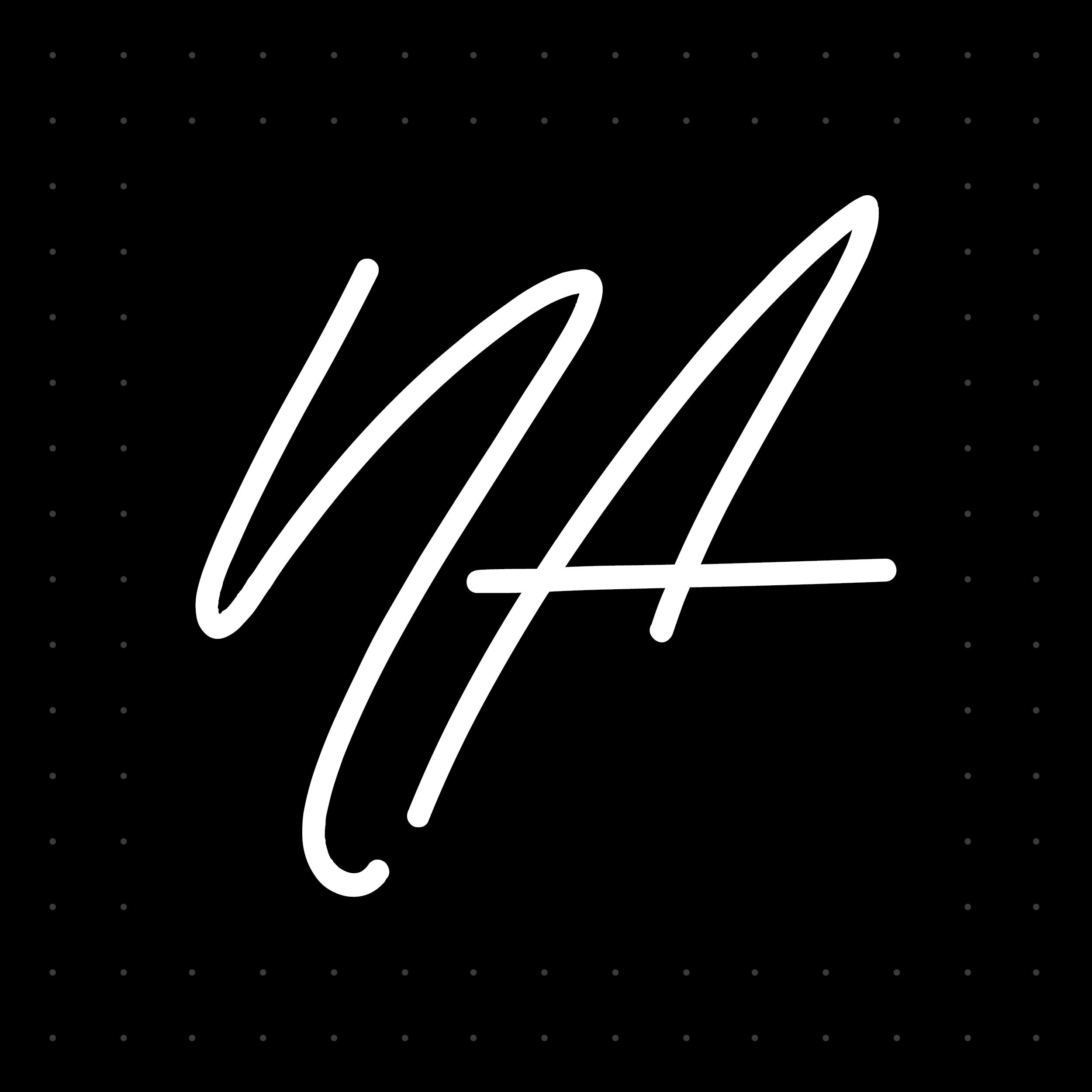Navshake Arora logo. White handwritten N and A on a black background.